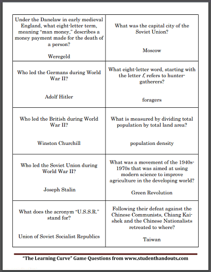 Social Studies Board Game Question Cards - Free to print (PDF files). Includes game boards and instructions.