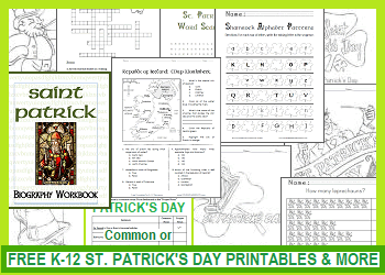 Free K-12 Printables and More for St. Patrick's Day - Worksheets, Puzzles, Games