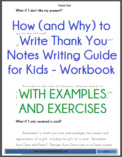 How (and Why) to Write Thank You Notes Writing Guide for Kids - Workbook is free to print (PDF file).