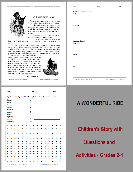 A Wonderful Ride Short Story Workbook - Free to print (PDF file). For grades 2-4.