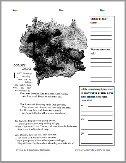 Dollies' Drive Poem Worksheet - Free to print (PDF file).