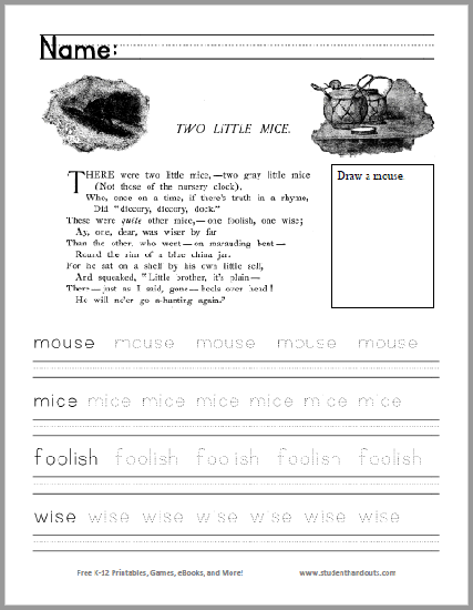 Two Little Mice Poem Worksheet - Free to print (PDF file) for kindergarten and first grade.