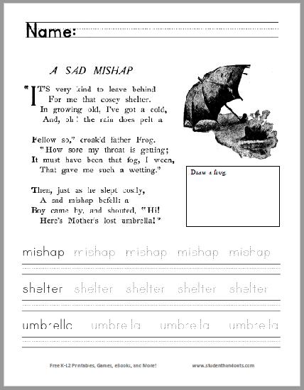A Sad Mishap Poem Worksheet - Free to print (PDF file) for kindergarten and first grade.