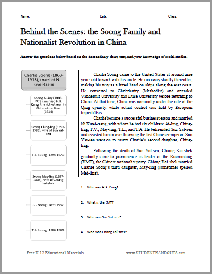 Soong Family Tree Worksheet - For World History classes studying Kuomintang and nationalist revolution in China. Free to print (PDF file).