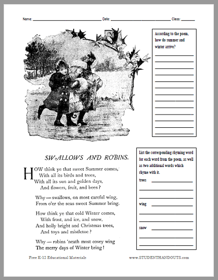 Swallows and Robins Poem Worksheet - Free to print (PDF file).