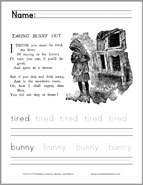 Taking Bunny Out: Children read the poem and color the picture, then read, trace, and write two terms from the poem. Free to print (PDF file). For kindergarten and first grade.
