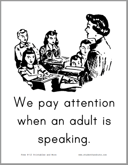 We pay attention when an adult is speaking. - Free to print (PDF file).
