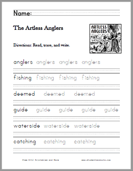The Artless Anglers Poem Worksheets - Free to print (PDF files).