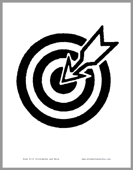 Bull's-Eye with Arrow - Classroom sign is free to print (PDF file).
