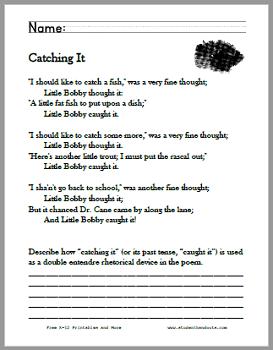 Catching It Poem Worksheets - Free to print (PDF files). Grades 5-7.