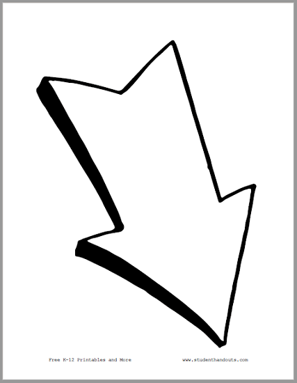 Large Downward Right White Arrow -  Free to print (PDF file).