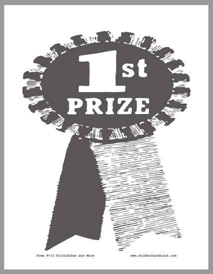 First Prize Ribbon Sign - Free to print (PDF file).