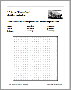A Long Time Ago - Free printable short story with worksheets for kids (PDF files).