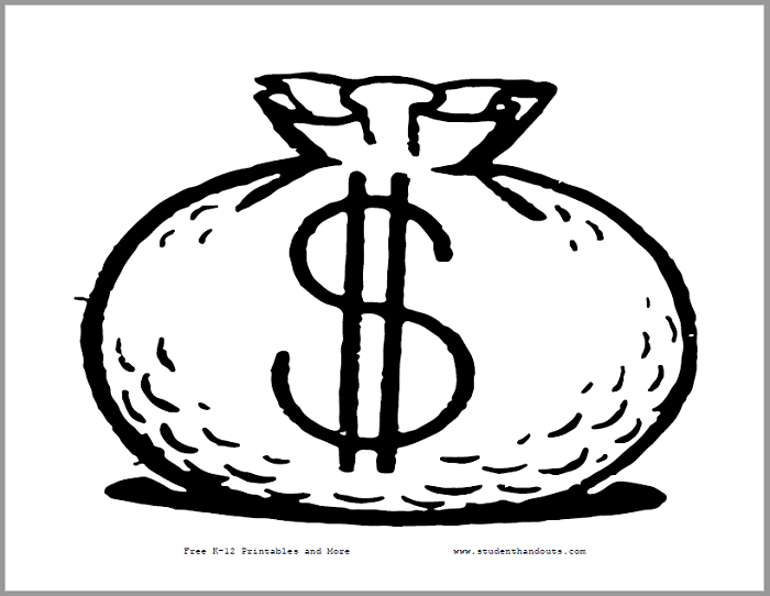 Money Bag Printable Sign - Classroom sign is free to print (PDF file).