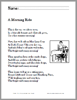 A Morning Ride Poem Worksheets - Free to print (PDF files). Grades two through five.