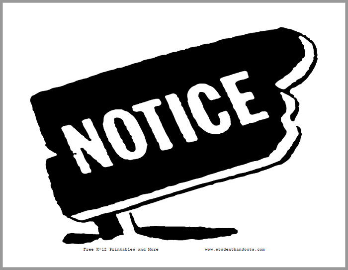 Notice Sign - Free to print (PDF file).