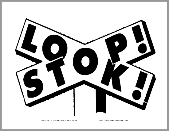 Stop! Look! Classroom Sign - Free to print (PDF file).