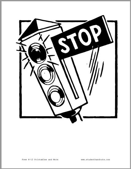 Stop Sign Traffic Light - Free to print (PDF file).