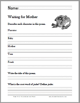 Waiting for Mother Poem Worksheets - Free to print (PDF files). For grades two through four.