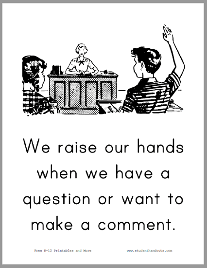 Raising Our Hands Classroom Sign - Free to print (PDF file).