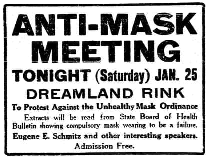 Anti-mask meeting on January 25 at Dreamland Rink