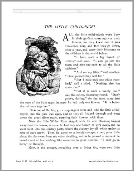 The Little Child Angel Short Story Workbook - Free to print (PDF file). Four pages in length.