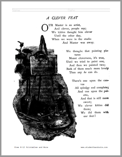 A Clever Feat Poem Worksheets - Poetry about naughty kittens! Free to print (PDF files).