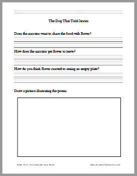 """""""The Dog That Told Stories"""" Poem Worksheets - For children in grades 1-2. Free to print (PDF files)."""