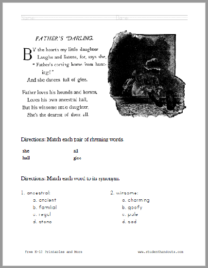 Father's Darling Poem Worksheet - Free to print (PDF file).