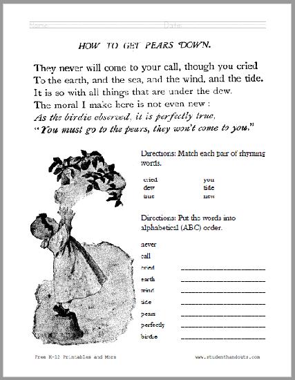 How to Get Pears Down Poem Worksheet - Free to print (PDF file).