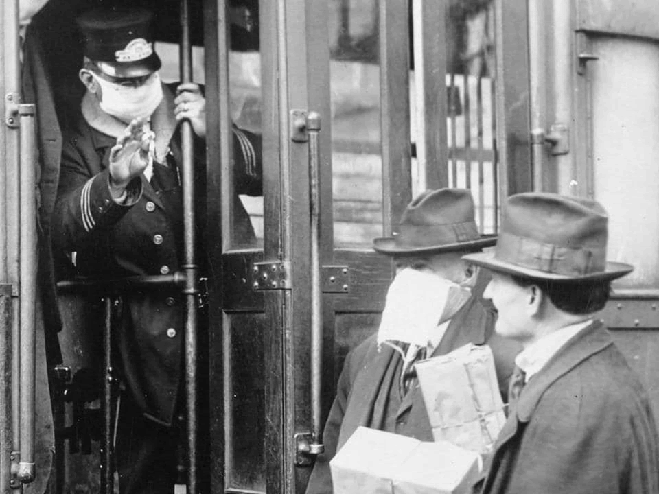 Masked Train Passengers (Spanish Flu Pandemic)
