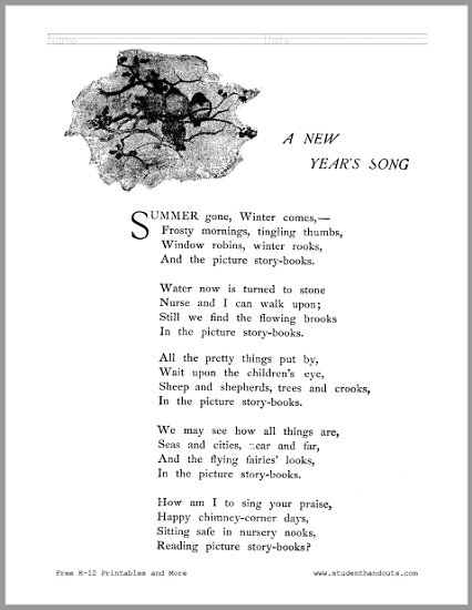 A New Year's Song Poem Worksheets - Free to print (PDF files).