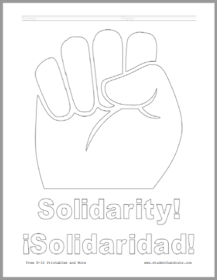 Solidarity Fist Coloring Page for Kids - Free to print (PDF file).