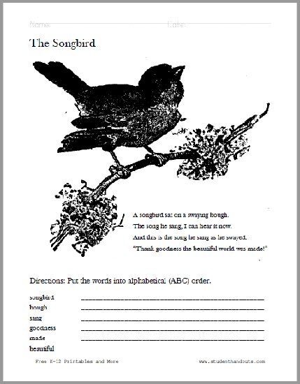 The Songbird Poem Worksheet - Free to print (PDF file).