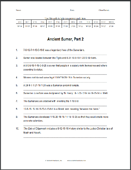 Ancient Sumer - Code Puzzle Worksheet #2: Free to print (PDF file) for World History.