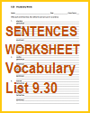 Vocabulary Terms 9.30 Sentences and Definitions Worksheet