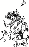 Girl with dogs and a bird.