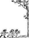 Page border frame featuring young girls running toward a tree.