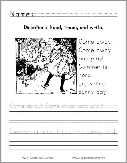 Sunny Day Handwriting Practice Worksheet - Free to print (PDF file).
