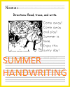 Sunny Day Handwriting Practice Worksheet