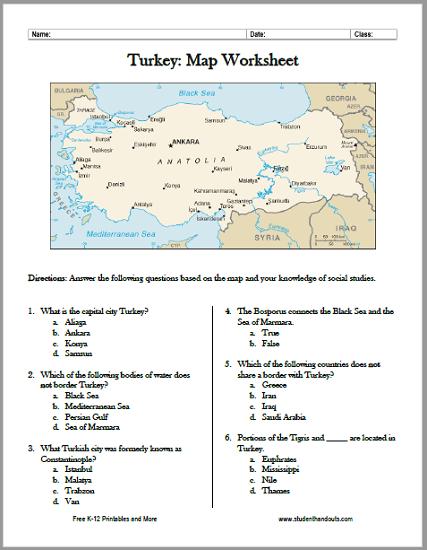 Turkey Map Worksheet - Free to print (PDF file).