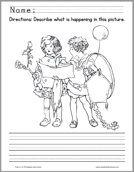 Kids with a Bird and a Kite Picture Writing Prompt - Free to print (PDF file).