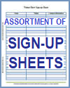 Assortment of Sign-up Sheets