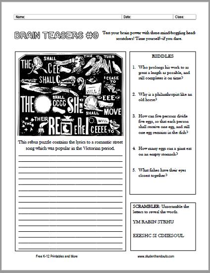 Brain Teasers Worksheet No. 9 - Free to print (PDF file).