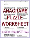 Anagrams Worksheet and Letter Tiles