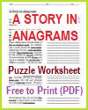 Anagrams Story Puzzle Worksheet