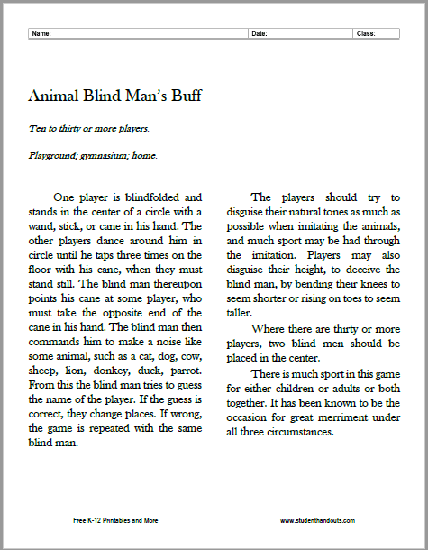 Animal Blind Man's Buff Instructions - Free to print (PDF file).