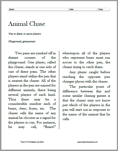 Animal Chase Outdoor Game Instructions - Free to print (PDF file).