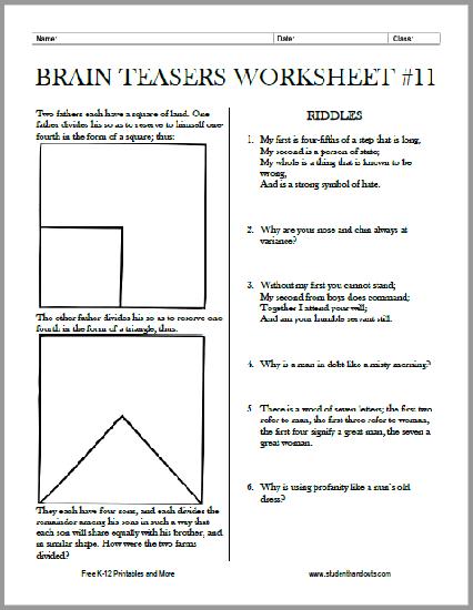 Brain Teasers Worksheet No. 11 - Free to print (PDF file).