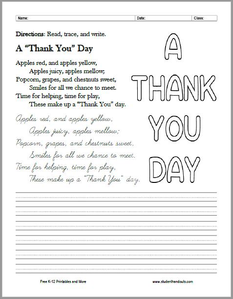 "A ""Thank You"" Day Poem Cursive Writing Printable - Free to print (PDF file)."